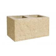 Pustak dwustronnie łupany narożny 390x190x190 piaskowy białe kruszywo